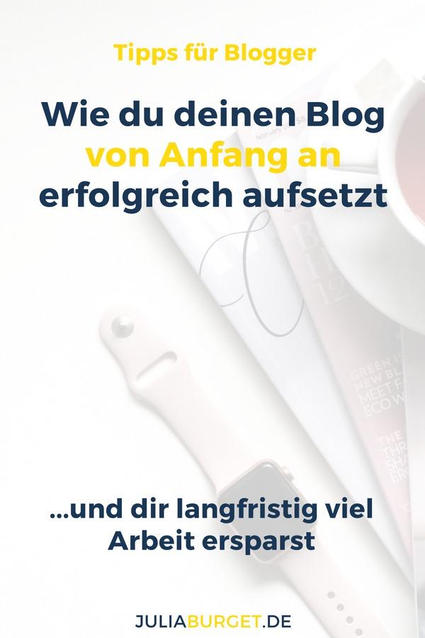 Du möchtest einen Blog erstellen? Dann gestalte deinen Blog mit diesen Blog Ideen so, dass er von Anfang an erfolgsversprechend ist. Erfolgreich Bloggen mit diesen Blog Tipps für deinen Start als Blogger. Setze deinen Blog am Anfang erfolgreich auf, um dir langfristig Zeit zu sparen: Zeitmanagement als Blogger. #blogtipps #vomblogzumbusiness #bloggertipps #juliaburget