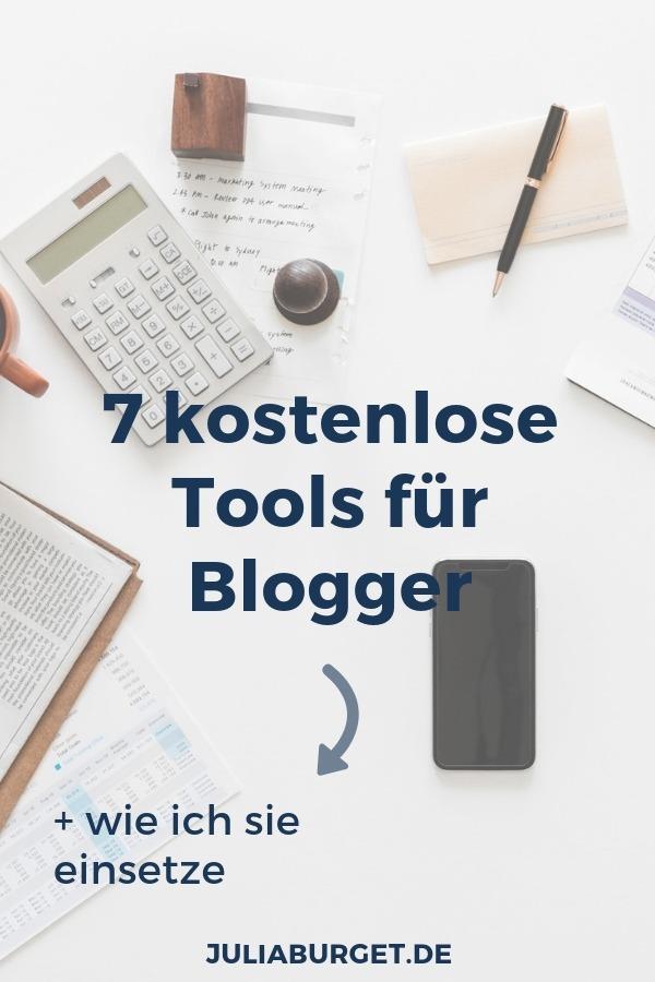 7 kostenlose Tools für Blogger. Du suchst nach kleinen Tools und Werkzeugen, die dir dein Bloggerleben vereinfachen? Hier habe ich eine ganze Liste von 7 kostenlosen Anwendungen, die dir deine Arbeit als Blogger vereinfachen, Zeit sparen und dich effizienter Arbeiten lassen. + Ich zeige dir, wie ich diese Tools in meinem Bloggeralltag einsetze. Blog Tipps für Blogger. #vomblogzumbusiness #juliaburget #blogtipps #bloggertipps #selbstständigkeit