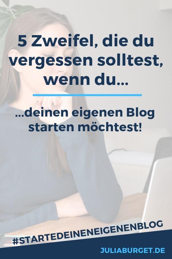 Vergiss die Zweifel und starte deinen eigenen Blog! Wenn du den ersten Beitrag schreibst und deine Adresse das erste Mal ins Impressum schreibst, kann das angsteinflösend sein. Das braucht es aber nicht. Ganz im Gegenteil! Es ist eine große Chance, etwas Wunderbares zu starten! Dein eigenes Projekt, das dir unglaublich viel beibringen wird. Trau dich und gründe noch heute einen Blog.  #blogtipps #startedeineneigenenblog #blogstarten #vomblogzumbusiness
