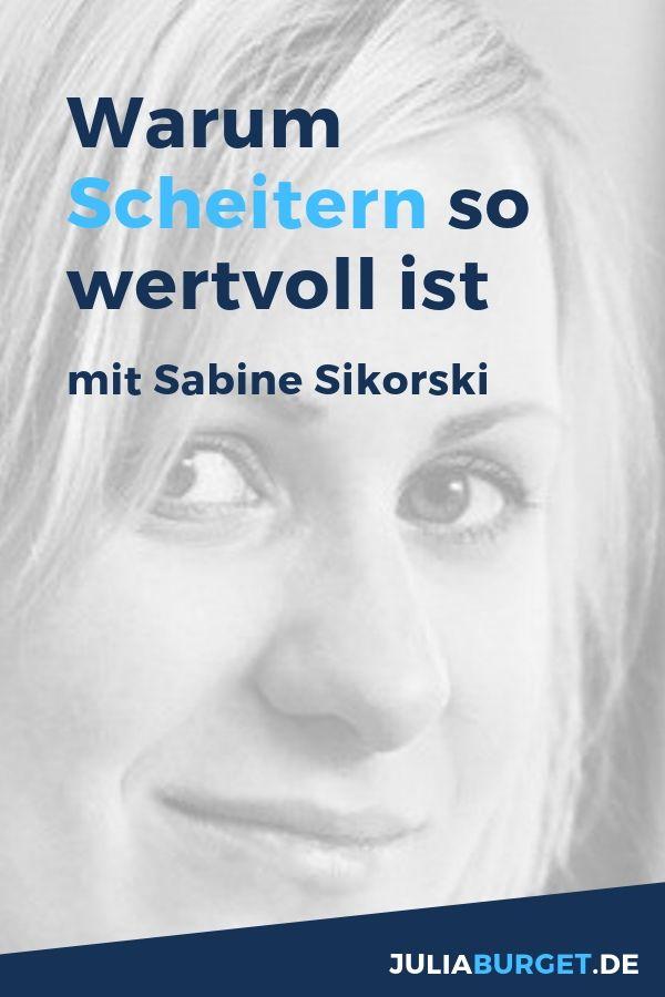 Warum das Scheitern so wertvoll ist. Ein deutsches Podcastinterview mit Sabine Sikorski über das Scheitern und Erfolg. Mit dem eigenen Unternehmen scheitern oder im Leben zu scheitern - beides lässt dich über dich hinaus wachsen. Sabine spricht über ihre Erfahrungen mit dem Scheitern und was sie dadurch persönlich gelernt hat: Coaching nach dem Scheitern. Scheitern Kunst. Beides ist eng miteinander verknüpft.
